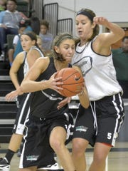 Freshman guard and former Oconto standout Laken James, right, defends a drive to the basket by junior guard Kaili Lukan during Saturday's scrimmage at the Kress Center.