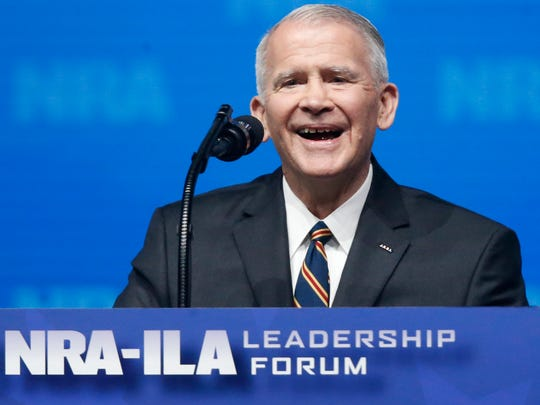 Oliver North will not serve the typical second term as NRA president, he said Saturday. Here, North, a former U.S. Marine lieutenant colonel, speaks at the National Rifle Association-Institute for Legislative Action Leadership Forum in Dallas on May 4, 2018.