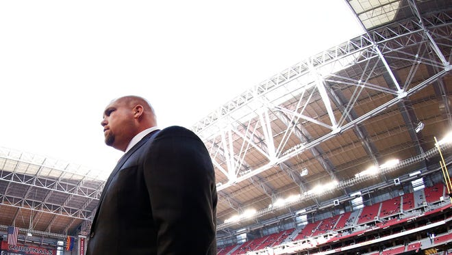 Cardinals General Manager Steve Keim looks on against the St. Louis Rams at University of Phoenix Stadium in Glendale.