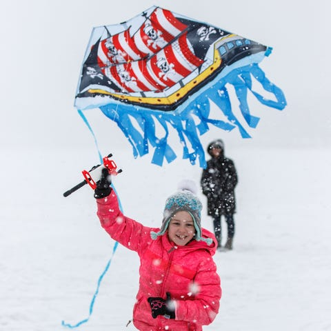 Gianna Shields, 7, of Pewaukee, tries to launch...