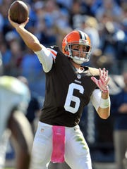 The jersey of Cleveland quarterback Brian Hoyer (6) was sent to the Pro Football Hall of Fame after the former Michigan State quarterback led the Browns to the biggest comeback in NFL history.