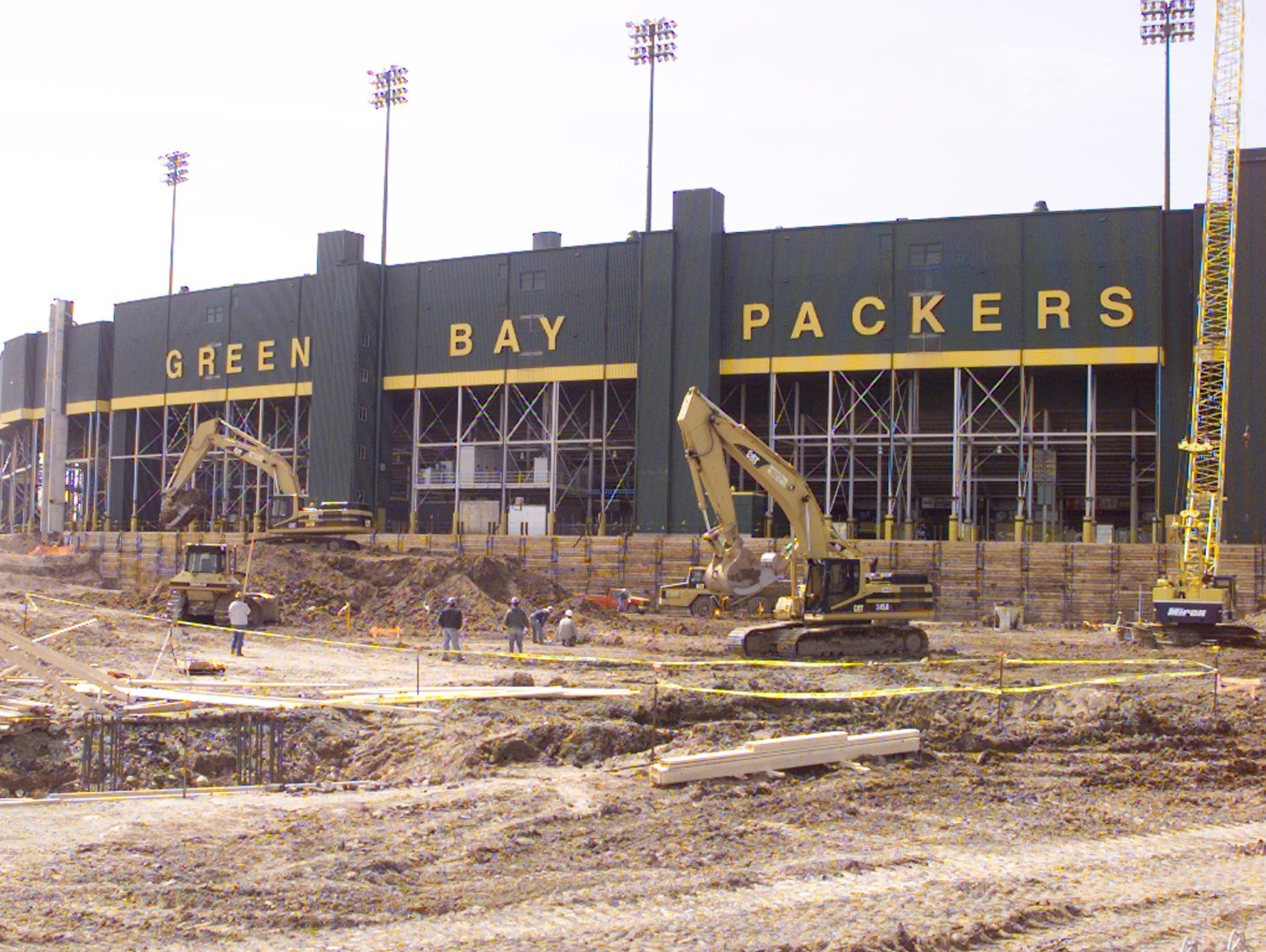 Lambeau Field undergoes renovation work in 2001.