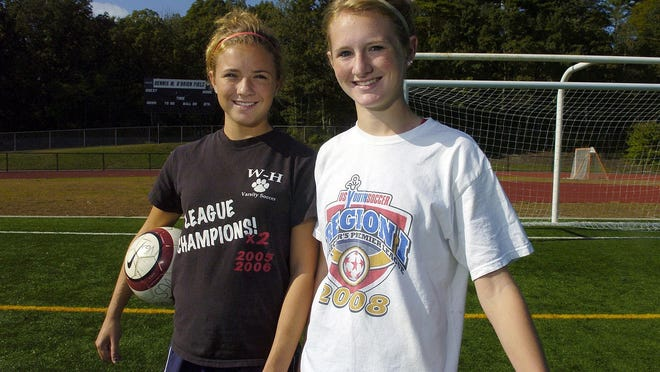 Samantha Mewis, right, and her sister Kristie, left, pictured here in 2008 when they were standout soccer players for Whitman-Hanson Regional High School. File photo