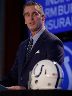 Indianapolis Colts head coach Frank Reich takes questions after he was introduced at the team's new had football coach during a press conference in Indianapolis, Tuesday, Feb. 13, 2018.