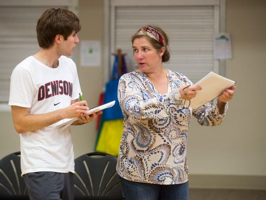 """Director Amy Hubbard works with Jackson Mullins for the Tennessee Stage Company's production of""""Two Gentlemen of Verona"""" for Shakespeare on the Square."""
