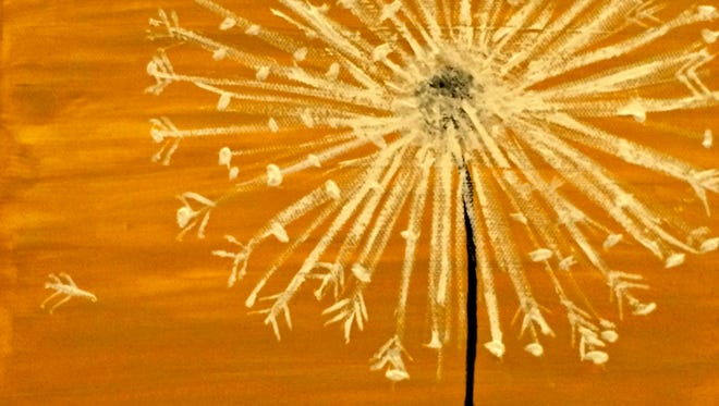 """A step-by-step class will allow participants to paint a this piece, titled """"Sunshine Dandelion."""""""