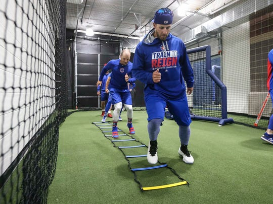 Iowa Cubs'  Mark Zagunis works out during media day Wednesday, April 4, 2018, at Principal Park before their season opener Thursday.