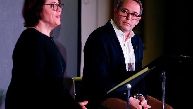 "Rev. Janet Broderick and her brother, actor Matthew Broderick during a reading of Truman Capote's short story ""A Christmas Memory""  for an audience in the parish house at St. Peter's Episcopal Church on South Street, Morristown.  January 5, 2018. Morristown, NJ."