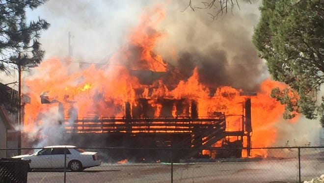 The back of the restaurant was engulfed in flames.