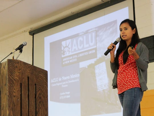 Cynthia Pompa, field organizator for the ACLU, gave attendees an overview of their rights when dealing with law enforcement or Border Patrol officers.