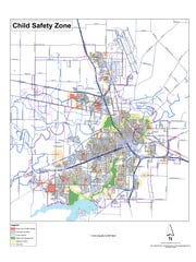This map is an illustration of the child safety zones created by a city ordinance in Wichita Falls. Registered sex offenders are prohibited from living within 1,000 feet of a public or private school, youth center, certain child-care facilities and public parks. The map isn't exact but for illustrative purposes.