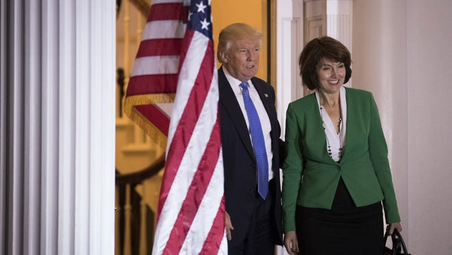 President-elect Donald Trump and Rep. Cathy McMorris Rodgers pose for a photo before their meeting at Trump International Golf Club on Nov. 20, 2016, in Bedminster Township, N.J.