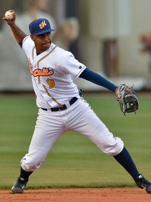 Montgomery Biscuits' Hector Guevara (9) during their game with Mississippi Braves at Riverwalk Stadium on Sunday, June 1, 2014.