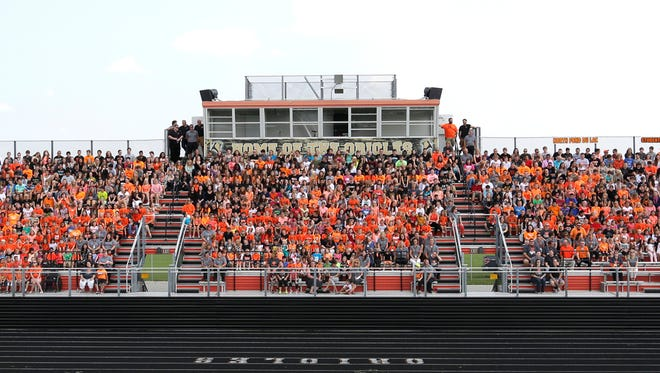 The North Fond du Lac School District gathered for their annual group photo Tuesday afternoon, at the North Fond du Lac football field on Sept. 1, the first day of school.