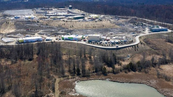 An aerial photo on Friday shows the progress of construction at the Legoland theme park in the Town of Goshen.