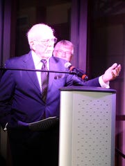 Former Carlsbad mayor Bob Forrest speaks at the founders'