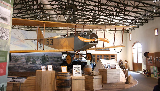 """A flying Jenny hangs above the Pancho Vllla State Park Exhibition Hall in Columbus, New Mexico. The Jenny's were first used by the U.S. Army Air Corps during the Punitive Expedition in the hunt for Mexican General Francisco """"Pancho"""" Villa."""