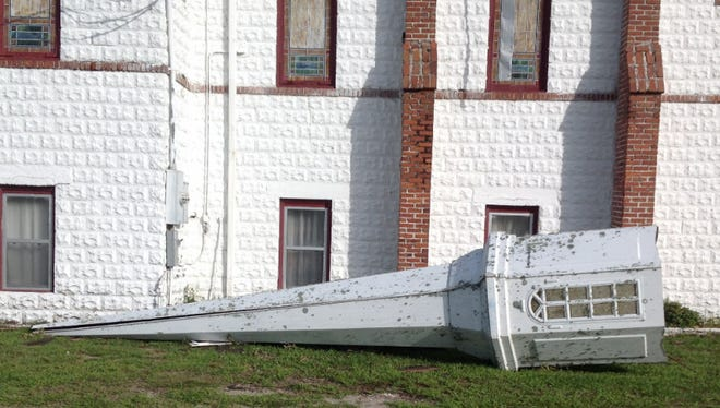 The damages steeple as shown on the church's GoFundMe page.