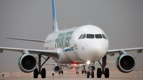 This file photo from May 2017 shows a Frontier Airlines