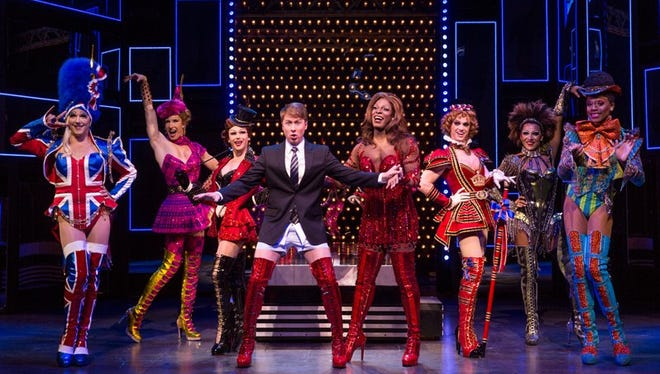 "The touring cast of ""Kinky Boots."" The Tony Award-winning musical runs through Jan. 25 at the Fisher Theatre."
