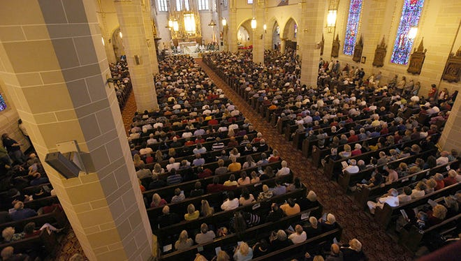 It was standing room only for some of the 2,000 people that attended the noon service at St. Florian Catholic Church in Hamtramck today. The church was the 6th church highlighted for a Detroit Mass Mob.