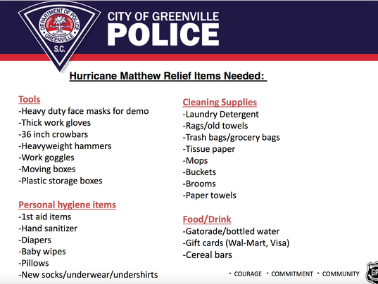 GPD collecting supplies for hurricane relief