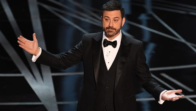 Host Jimmy Kimmel delivers a speech on stage at the 89th Oscars on February 26, 2017 in Hollywood, California.