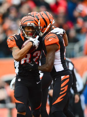 Marvin Jones and A.J. Green celebrate a touchdown against Baltimore in December.