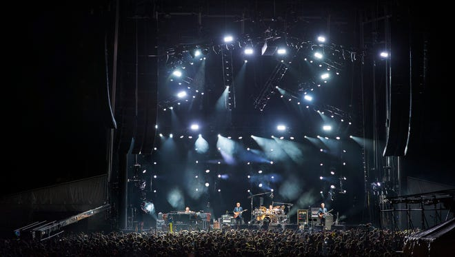 Phish play early in their first set Friday evening at Magnaball, the festival thrown by the band Phish at Watkins Glen International racetrack.
