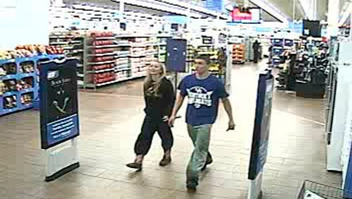 In this January 2015 photo made from surveillance video and released by the Grayson County Sheriff's Office, in Kentucky, 18-year-old Dalton Hayes and 13-year-old Cheyenne Phillips leave a South Carolina Walmart. Authorities are looking for the teenage couple from central Kentucky who are suspected in a multistate crime spree.