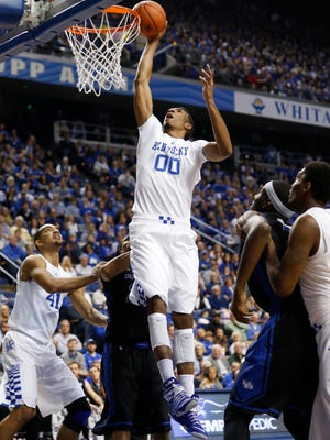 Nov 16, 2014; Lexington, KY, USA; Kentucky Wildcats forward Marcus Lee (00) shoots the ball against the Buffalo Bulls at Rupp Arena. Mandatory Credit: Mark Zerof-USA TODAY Sports