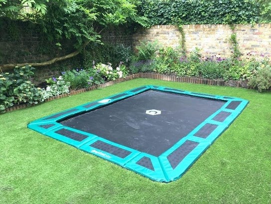 An in-ground trampoline.