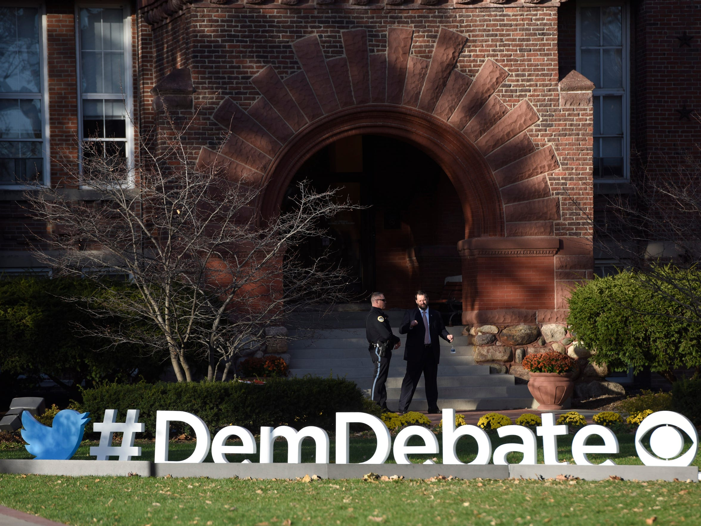 Security sweep the area around the secure sites at Drake University where CBS News would host Hillary Clinton, Bernie Sanders, and Martin O'Malley for the second in a series of Democratic presidential primary debate at Drake University on Saturday, Nov. 14, 2015.