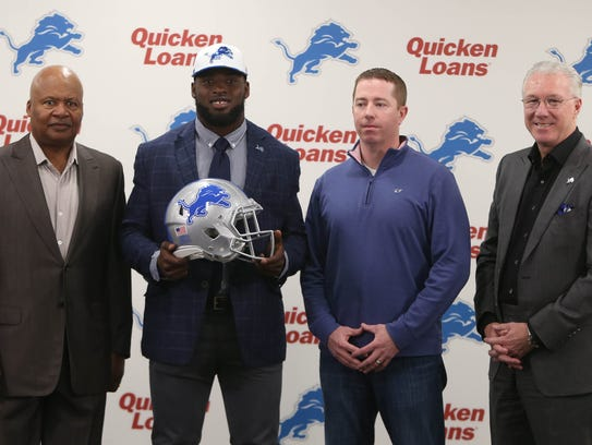 (From left) Lions coach Jim Caldwell, first-round draft