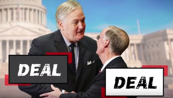 A still from an ad funded by Tuscaloosa developer Stan Pate accuses Sen. Luther Strange of striking a deal with Gov. Robert Bentley for his U.S. Senate appointment.