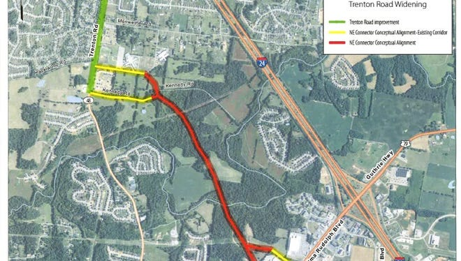 A proposed road will connect Trenton Road to Wilma Rudolph Boulevard, or possibly will be extended further to Ted Crozier Sr. Boulevard.