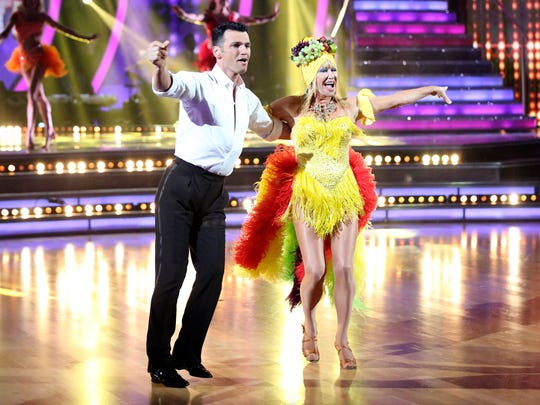 """Suzanne Somers and partner Tony Dovolani are seen in this photo dancing the samba on """"Dancing with the Stars"""" Monday during Latin Night."""