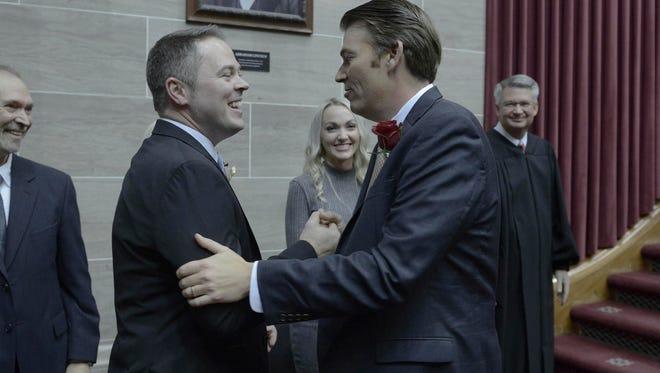 Speaker Pro Tem Elijah Haahr, (R) Springfield, is congratulated by House Speaker Todd Richardson.