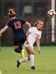 Clemson senior defender Gabby Byorth heads the ball during a game against Syracuse on Thursday in Clemson.