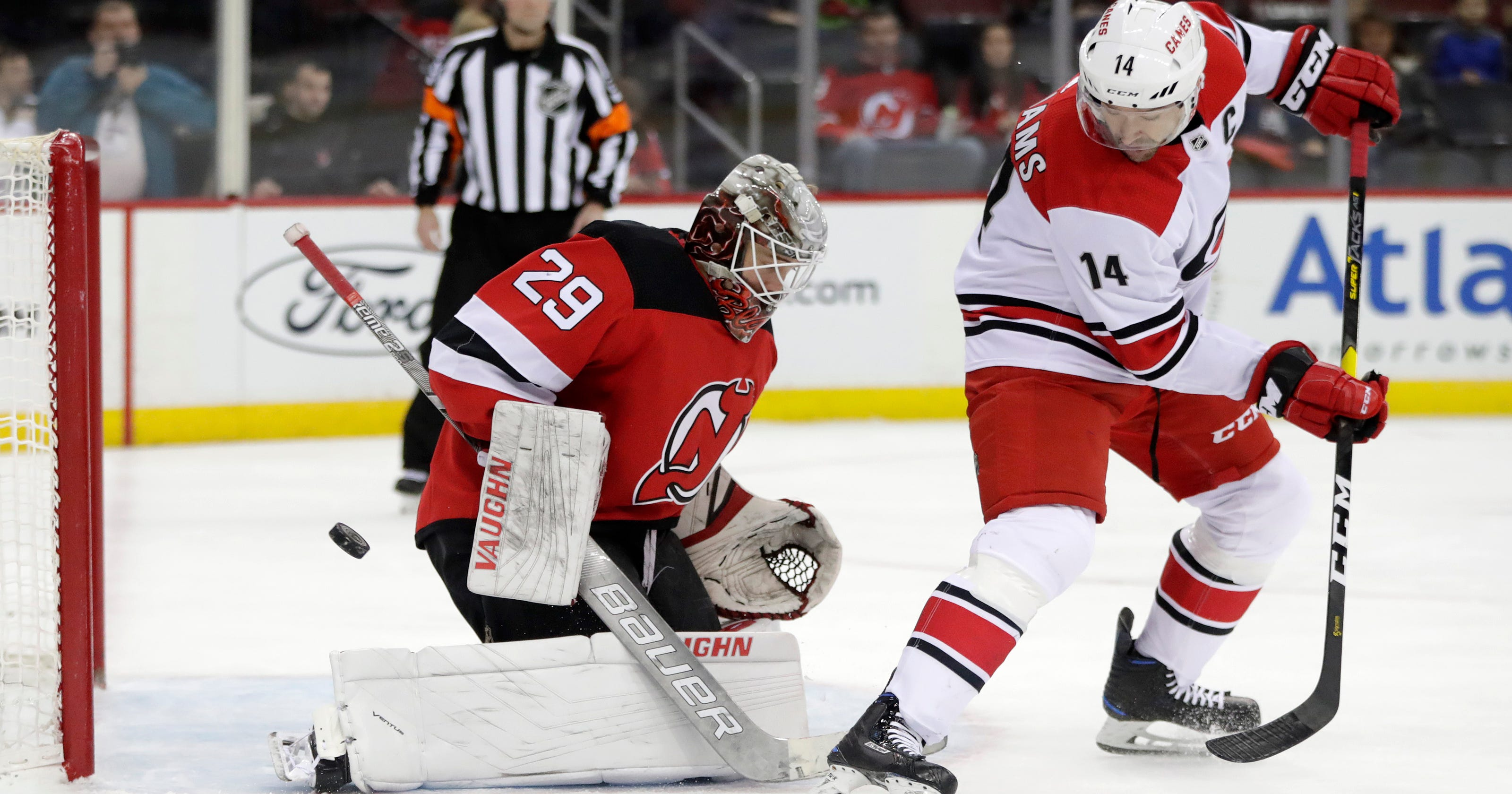 blackwood earns 1st shutout devils top hurricanes 2 0