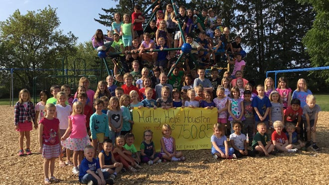 Hatley Elementary School students raised more than $750 in a penny war to help schools affected by Hurricane Harvey.