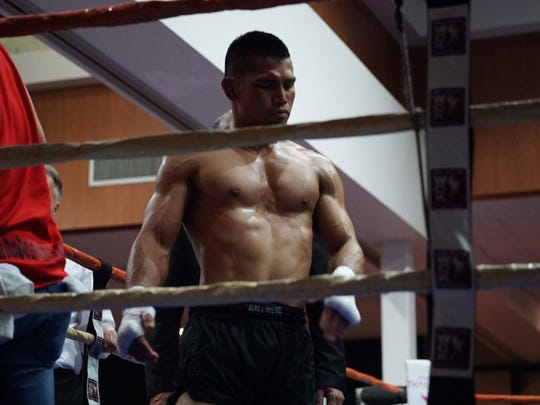 Muay thai fighter Joe Gogo after a round on March 11 during his WCK prestige bout against Anthony Castrejon. Gogo won by unanimous decision.