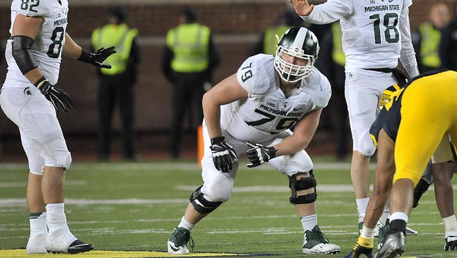 Kodi Kieler (79) started at right tackle the past two seasons but is listed as the starter at center heading into preseason camp.