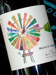 The label, created by Marin Wolgamott in watercolors, is on the Marin's Vineyard Petit Verdot wine.