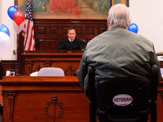 Judge Greg Pinski presides over the Veterans Court