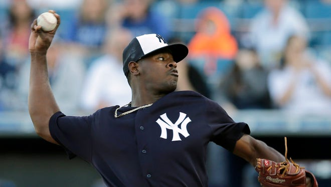 New York Yankees' Luis Severino pitches to the New York Mets during the first inning of a spring training baseball game Tuesday, March 22, 2016, in Tampa, Fla.