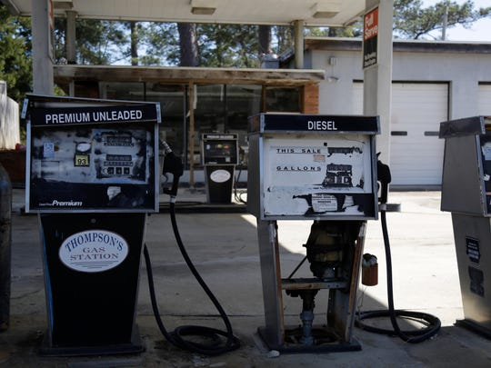 The pumps at Thompson's Gas Station on highway 19 in Monticello have fallen into disrepair since the business closed more than 5 years ago.