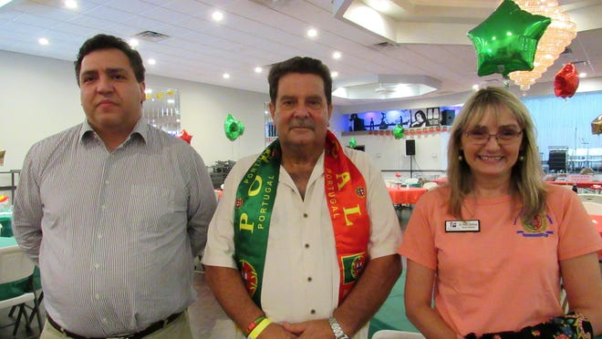 U.S. Embassy of Portugal First Secretary of Consular Affairs Henrique Henriques, left, joins Tony Amaral, President of the Portuguese American Cultural Center, and Flagler County School Board member Maria Barbosa for the annual Portugal Day celebrations.