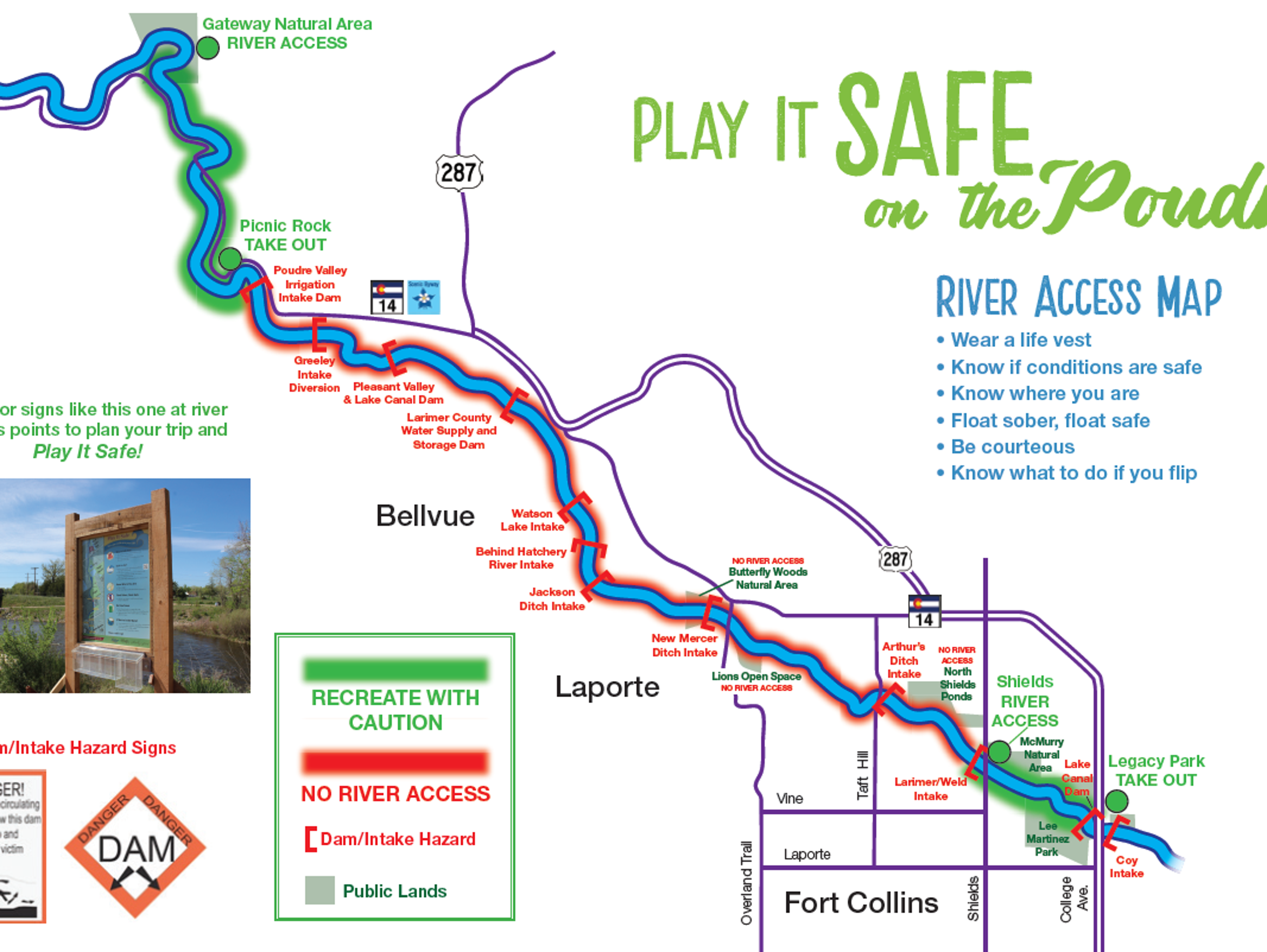A map of the Poudre River and the known diversion structures,