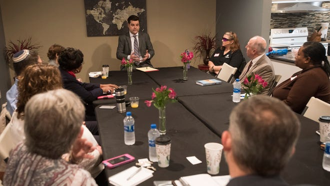 U.S. Rep. Matt Gaetz meets with a group of local clergy members to discuss their concerns with medical marijuana during a roundtable meeting Monday, Feb. 12, 2018, at West Florida Baptist Church in Milton.